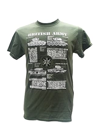 322646b28 British Army Tanks - World War II/Military T Shirt with blueprint design:  Amazon.co.uk: Clothing