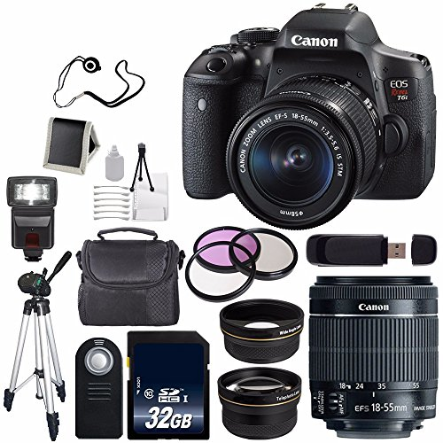Canon EOS Rebel T6i DSLR Camera with EF-S 18-55mm f/3.5-5.6 IS STM Lens 0591C003 + 58mm 2x Telephoto Lens + 58mm Wide Angle (International Model no Warranty) by Canon