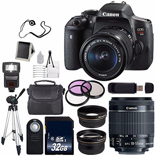 Canon EOS Rebel T6i DSLR Camera EF-S 18-55mm f/3.5-5.6 is STM Lens 0591C003 + 58mm Wide Angle (International Model)