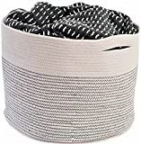 "OrganizerLogic Storage Baskets - Extra Large 15"" x 15"" x 13"" Cotton Rope Storage Bins for Organizing Toys, Baby, Kids, Laundry - Natural Woven Basket (Natural)"