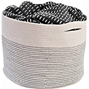 "OrganizerLogic Storage Baskets - Large 15"" x 15"" x 13"" Cotton Rope Storage Bins for Organizing Toys, Baby, Kids, Laundry - Natural Woven Basket (Natural)"