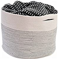 OrganizerLogic large Cotton Rope Storage Basket 15 by 15 by 13 inches for sto...