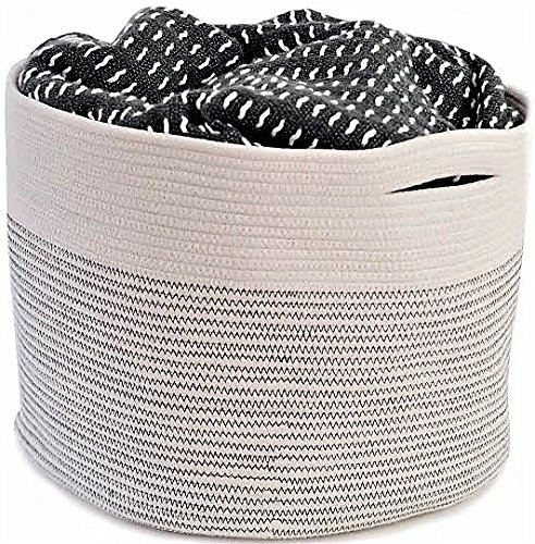 "OrganizerLogic Storage Baskets - Large 15"" x 15"" x 13"" Cotton Rope Storage Bins for Organizing Toys, Baby, Kids, Laundry - Natural Woven Basket (Natural) (Zebra Print Laundry Basket)"