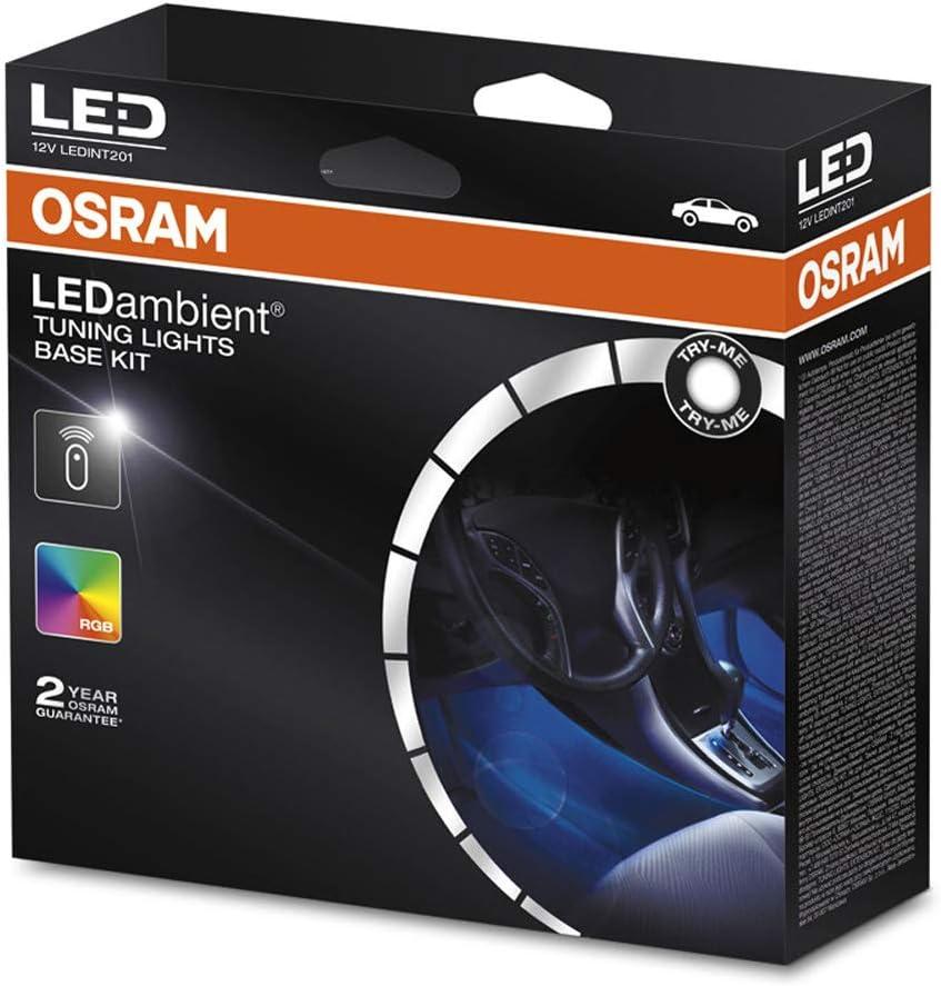 /éclairage de l/'espace int/érieur de v/éhicule 1 pi/èce Kit de base OSRAM LEDambient Tuning Lights 12V 5 modes LEDINT201 commande via t/él/écommande 16 couleurs bo/îte pliante