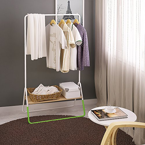 Creatwo Garment Rack with Wood Shelf Portable Metal Clothes Rack Laundry Clothes Drying Rack, White/Green by Creatwo (Image #3)