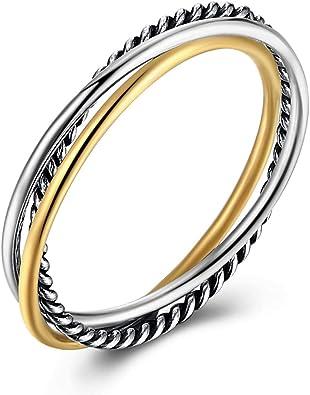 BORUO 925 Sterling Silver Ring Triple Interlocked Rolling High Polish Ring