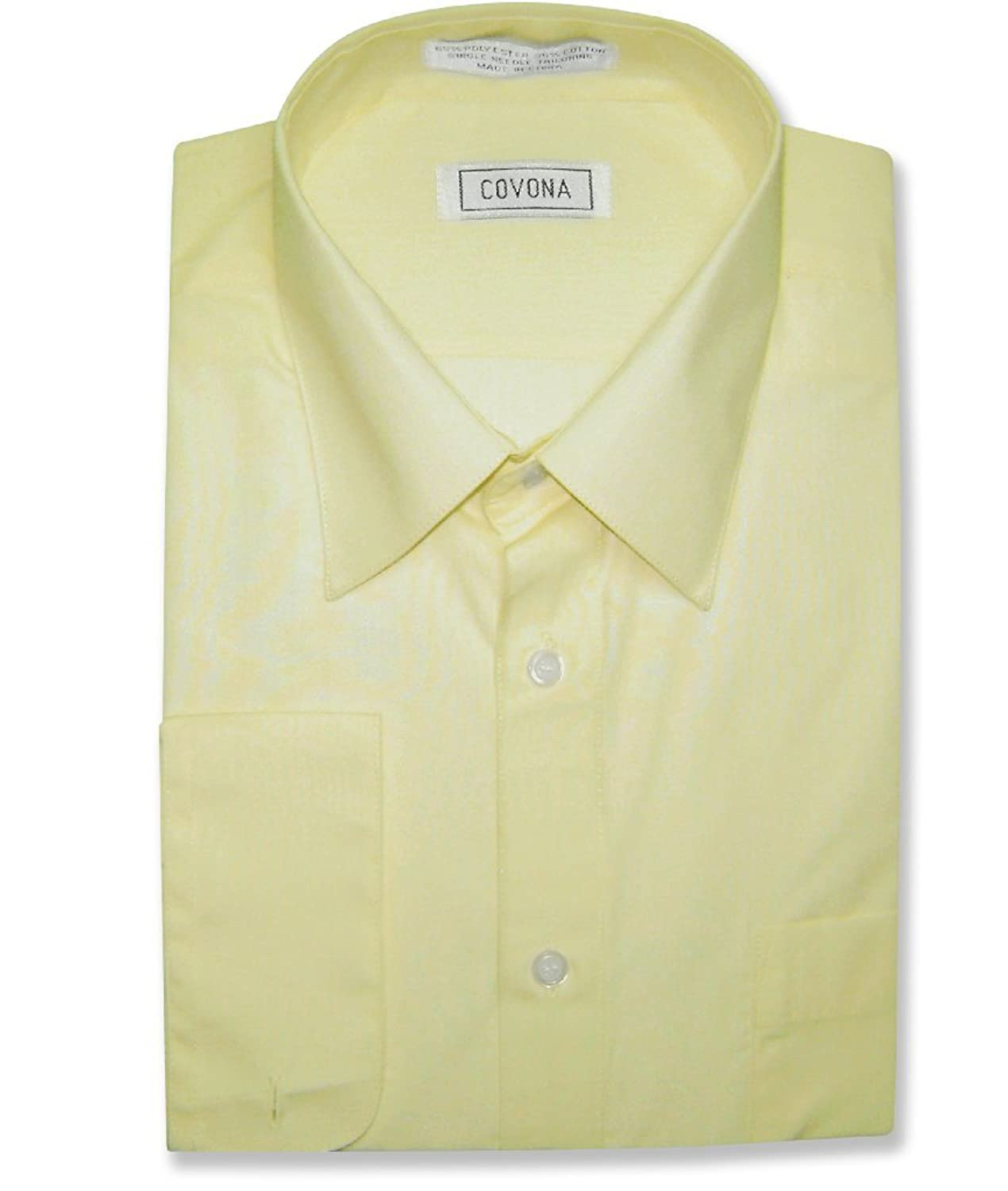 Men's Solid YELLOW Lemon Color Dress Shirt w/ Convertible Cuffs at ...