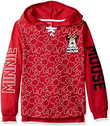 Disney Big Girls' Minnie Mouse French Terry Hoodie Pullover