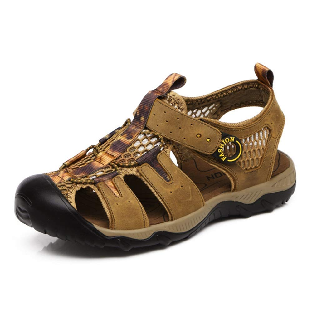 Wangcui Sandalen Herren Outdoor Sports Leder Comfort Rutschfeste : Sandalen (24,0-27,0) cm (Farbe : Rutschfeste Grün, Größe : 42 2/3 EU) Grün deb2ed