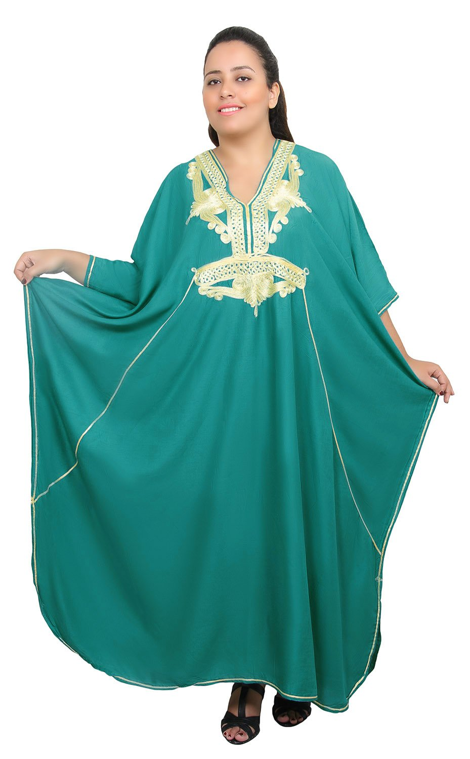 Moroccan Caftan Women Plus size Hand Made Caftan with Embroidery XXL to 4XL Green