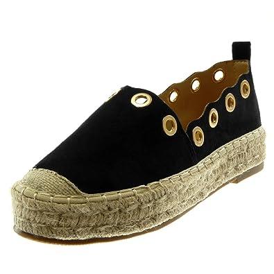 48db283ab Angkorly - Women's Fashion Shoes Espadrilles - Slip-on - Platform -  Perforated - Golden