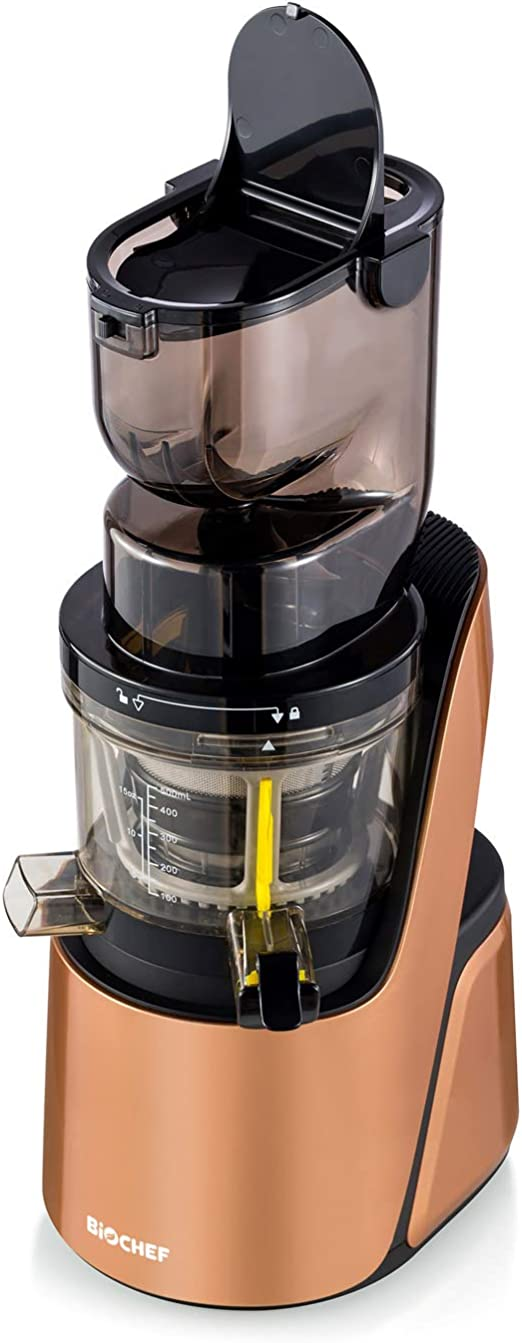 BioChef Quantum Whole Slow Juicer With powerful 300 W motor, wide chute (3.15 x 3.15 inch) & many accessories in bronze