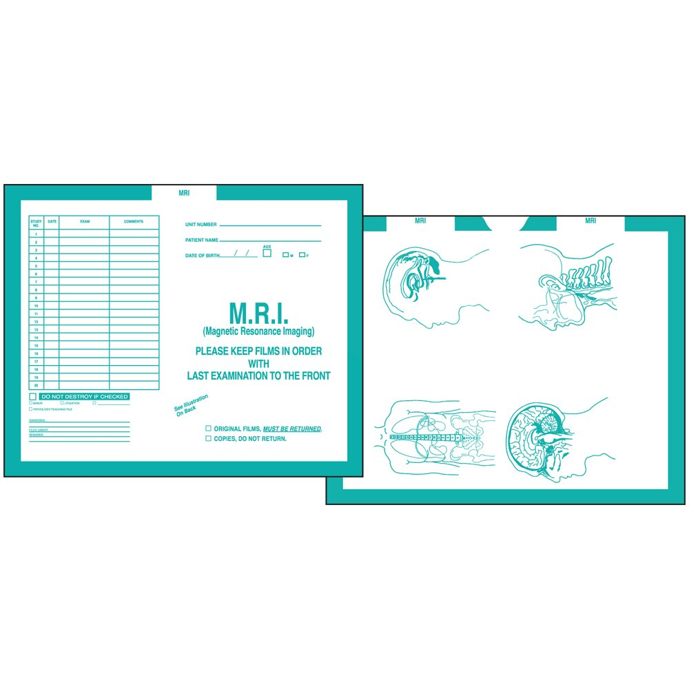 PDC Healthcare CJT-MR3 Category Insert Jacket, Open Top Mri, 28# Kraft, 14-1/4'' x 17-1/2'', Turquoise (Pack of 250)