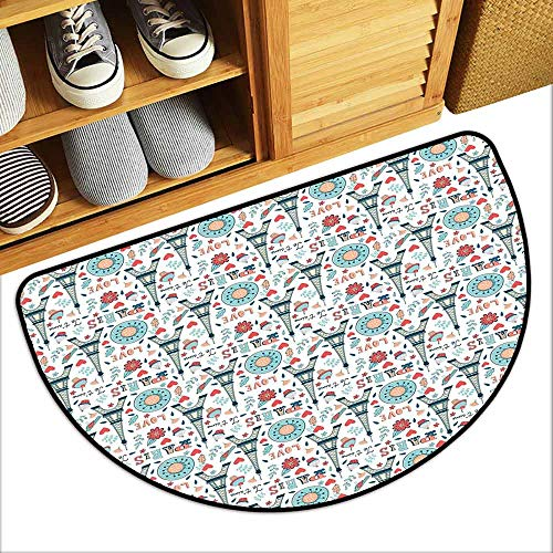 DILITECK Welcome Door mat Eiffel Retro Colored Cheerful Composition with Floral Figures Cupcakes and Je`Taime Print Easy to Clean Carpet W30 xL18 -