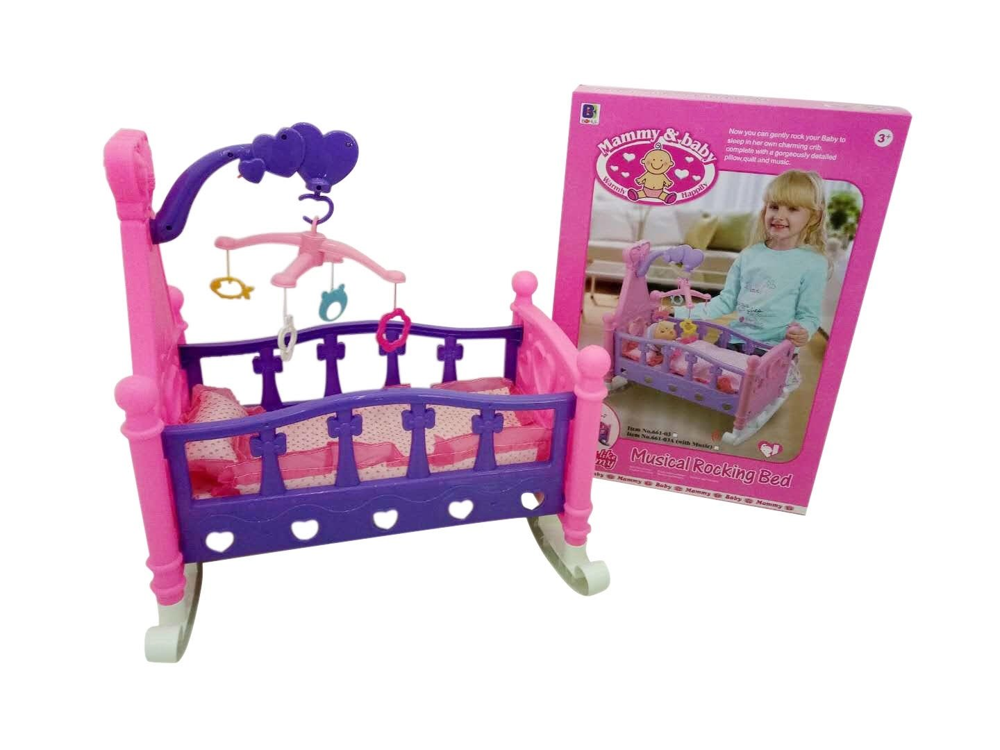 Allkindathings Children Mommy & Baby Pretend Play Rocking Musical Cradle Bed Cot With Bedding