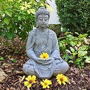 Antikas - Buda meditando estatua de piedra - decoración para jardín terraza hogar - budismo