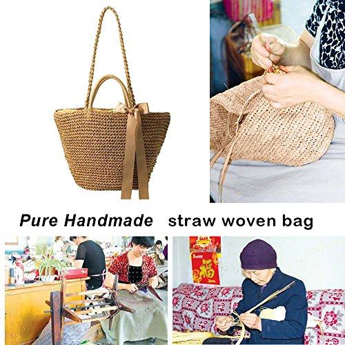 Sacs De Voyage Paille Tissé Tissage Little La Femme sac Main Main sac Style Paille Rétro Bandoulière Tressé Sac À pur 4ttTaU