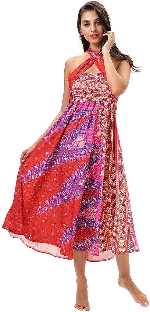 FAMILIZO Faldas Largas Y Elegantes Faldas Cortas Mujer Verano Invierno Primavera Vestidos Skirts for Women Mujer Larga Hippie Bohemia Gitana Boho Flores Cintura Elástica Falda Halter Floral