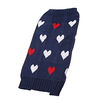 Fdit Sudaderas para Perros Suéter cálido Ropa para Mascotas Abrigos Suave Patrón de Punto Prendas de Punto Cuello Alto Camisa Azul(Azul - L): Amazon.es: ...