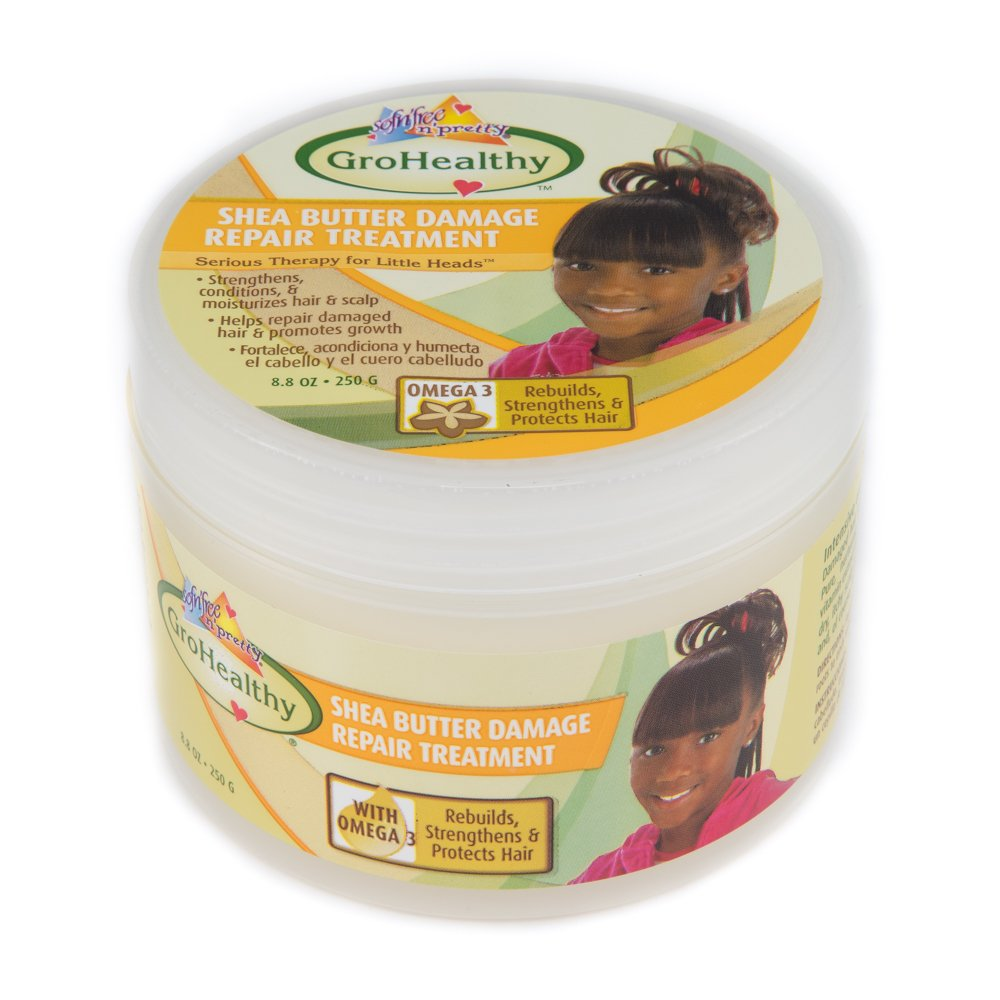Shea Butter Hair Damage Repair Treatment Promotes Hair Growth, Rebuilds, Strengthens, Protects for Soft, Healthy, Manageable Hair - Sofn'Free n'Pretty GroHealthy - Single