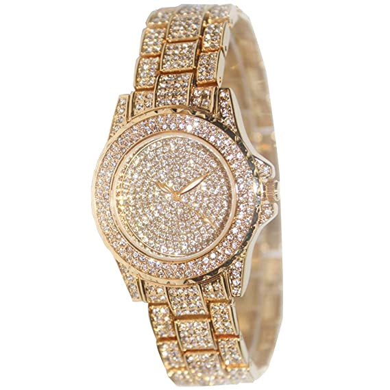 774724caf1 Smalody Round Luxury Women Watch Crystal Rhinestone Diamond Watches  Stainless Steel Wristwatch Iced Out Watch with Japan Quartz Movement for  Women | ...