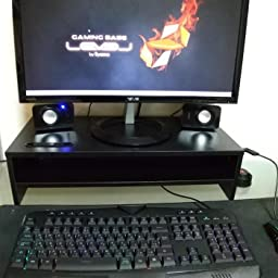 Amazon Co Jp 1homefurnit 机上台 木製モニター台 パソコン台 机上 人間工学デザイン キーボード収納 プリンター台 二段式 長さ 4 机上整理 パソコン 周辺機器