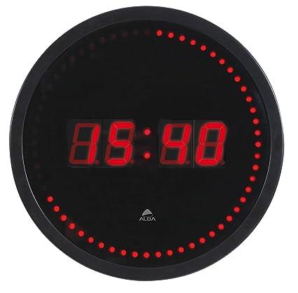 Alba HORLED – Reloj de pared LED negro/rojo – Toma eléctrica UK