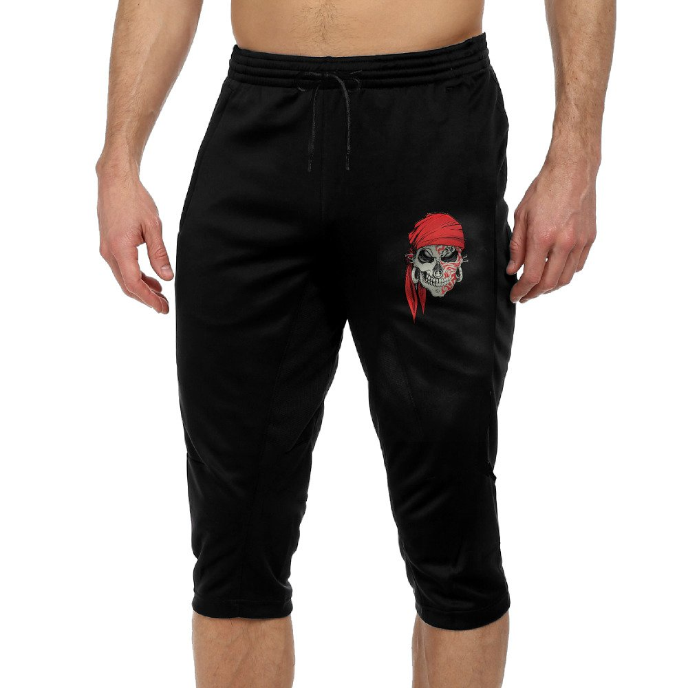 Pirate Skull Cool Active Men's Lightweight Relaxed Fit Drawstring Woven Capri Pant S by Dvgwe