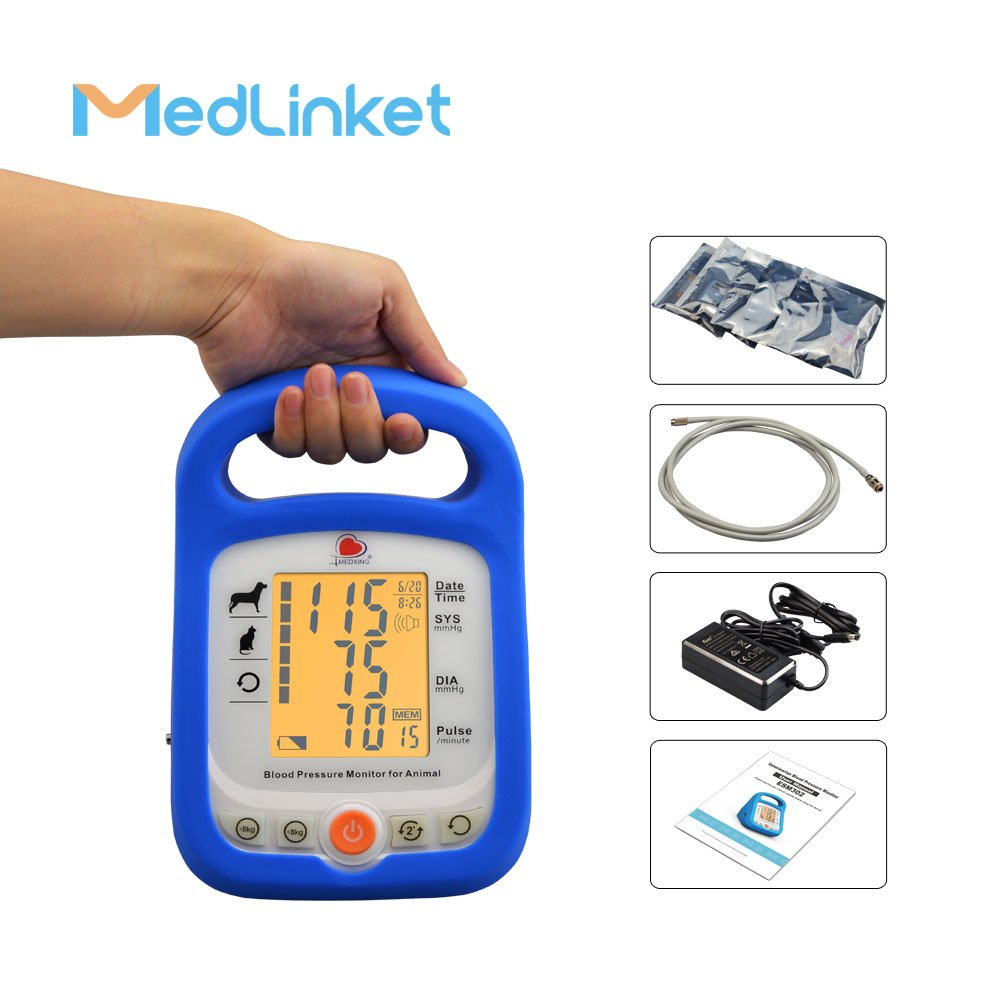 MED LINKET Electronic Sphygmomanometer, Veterinary Blood Pressure Monitor for Measuring Cat and Dog, with 5 Different Sizes Cuffs