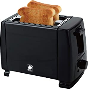 J-Jati Toaster Pop up Bread Toaster, 2 Slice Bread Toaster, 7 Browning levels, Crumb Tray, 700 Watt, Auto Pop Up, and Auto Shut off. Wide Slot Pop up Bread Toaster, TS007, Black