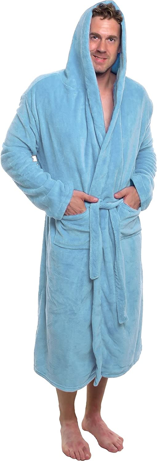 Mens Hooded Robe - Plush Shawl Kimono Bathrobe by Ross Michaels