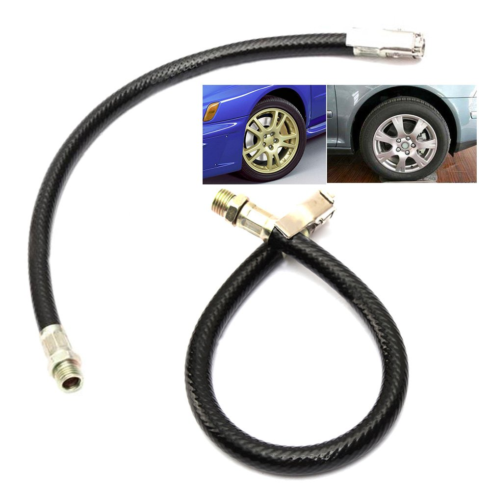 SparY 1 PC 37.5cm Motorcycle Bicycle Car Flexible Clip On Air Tyre Tire Chuck Inflator Hose 37.5cmpicture color