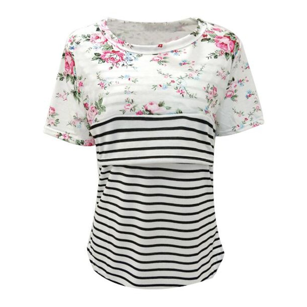 Yying Maternity Tops Lactancia Mujeres Tops Camiseta de Manga Corta Patchwork Stripes Camisetas Double Layers Soft Blusas C/ómodo Top