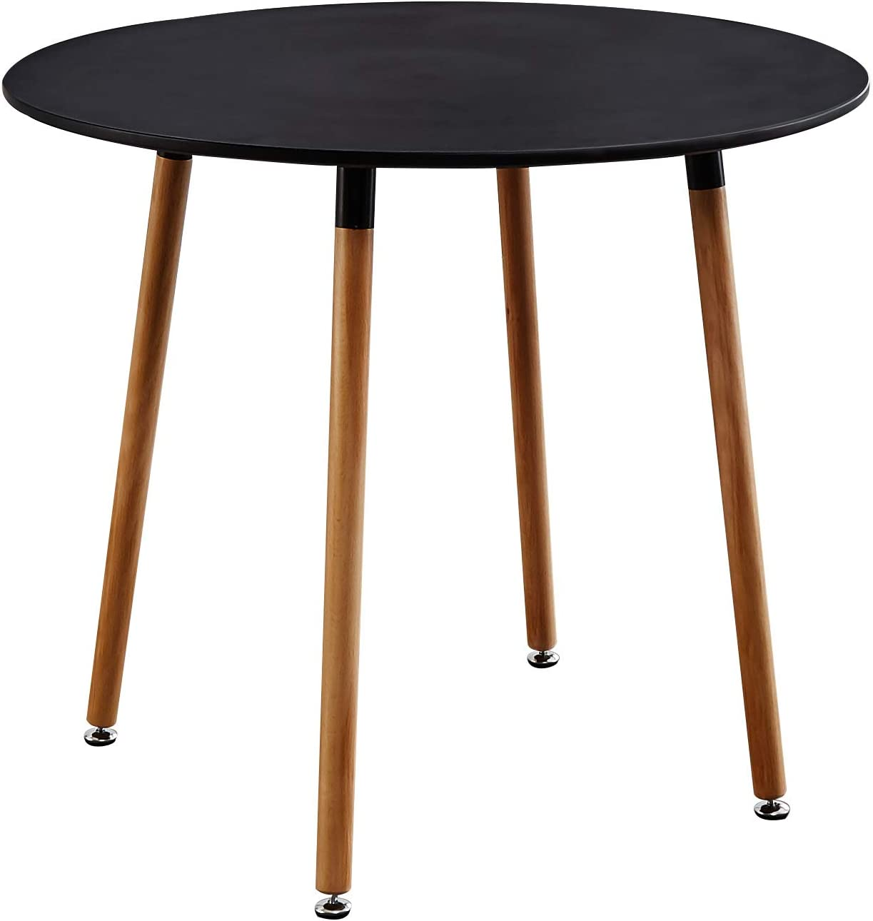 KOSY KOALA STYLISH CONTEMPORARY WOOD ROUND KITCHEN BLACK DINING TABLE AND 4 BLACK PADDED CHAIRS (Black table and 4 chairs) Black Table and 4 Chairs