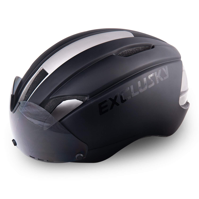 Exclusky AGTロードバイクヘルメットCPSC公認取り外し可能シールドバイザー付き特殊サイクリング(ブラック)   B074J9Z138