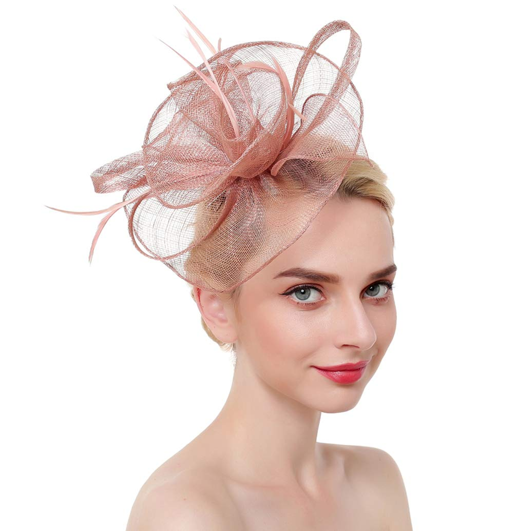 Vintage Flower Mesh Feathers Fascinators Hat for Women Kentucky Derby Cocktail Tea Party (Pink)