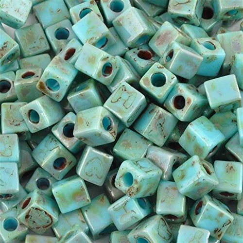 Seed Beads-4mm Cube-4514 Opaque Turquoise Picasso-Miyuki-Quantity 15 Grams