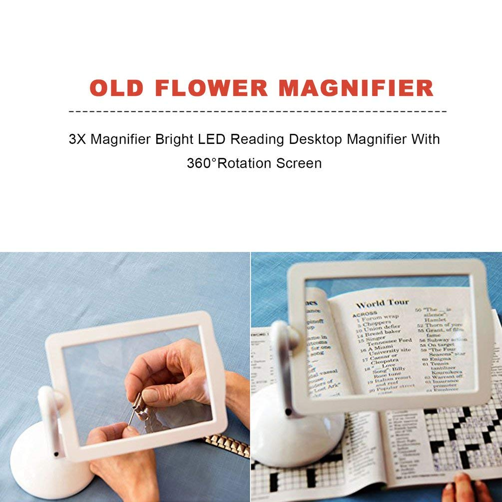 TAOHOU 3X Magnifier Bright LED Reading Desktop Magnifier with 360 ...