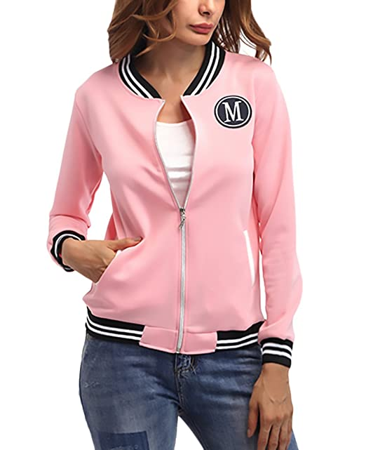 Mujer Chaquetas Invierno Otoño Universitarias Elegantes Béisbol Varsity Deporte Jacket Manga Larga Stand Cuello con Cremallera Bordadas Outerwear Moda ...