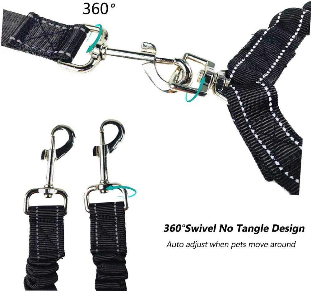 360/° Swivel No Tangle Reflective Adjustable Heavy Duty Dual Dog Leash with Soft Handle and Comfortable Shock Absorbing Bungee for Medium//Large One or Two Dogs POPETPOP Double Dog Leash