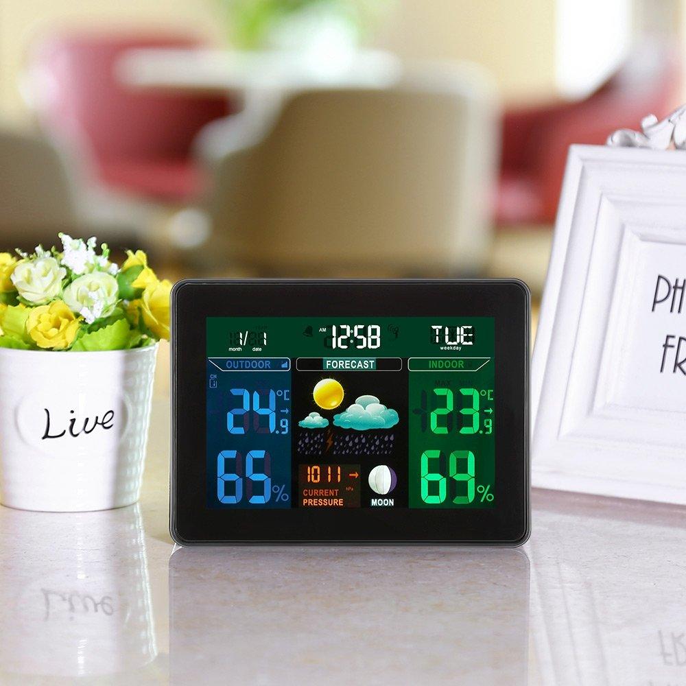 ... predicción de fase lunar, ajuste DST, termómetro digital higrómetro y monitor de humedad con retroiluminación (con 2 sensores inalámbricos): Amazon.es: ...