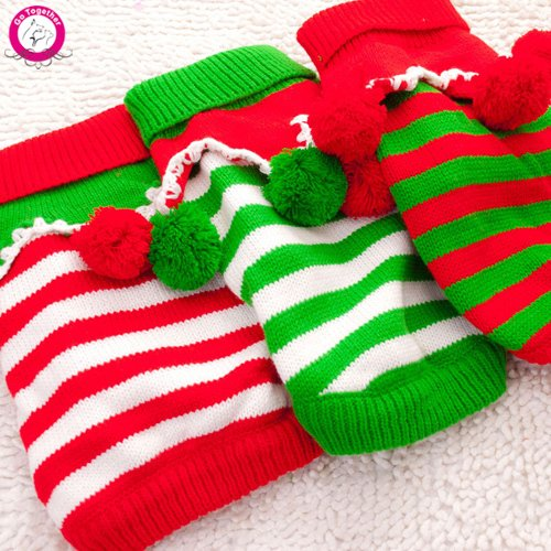 Red green XS red green XS Bosun(TM) Fashion Cute Christmas Pet Dog Sweater Clothing Autumn Winter Warm Knit Dog Puppy Coat With Ball