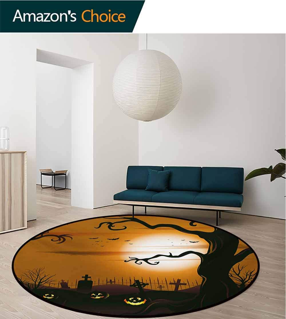 RUGSMAT Halloween Modern Machine Washable Round Bath Mat,Leafless Creepy Tree with Twiggy Branches at Night in Cemetery Graphic Drawing Non-Slip Soft Floor Mat Home Decor,Diameter-71 Inch by RUGSMAT (Image #3)
