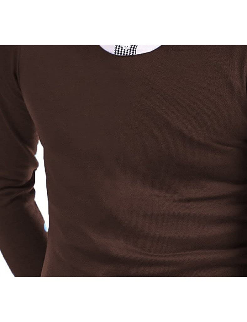 Bestgift Mens Slim Fit Solid Color Round Neck Long Sleeve T-Shirt