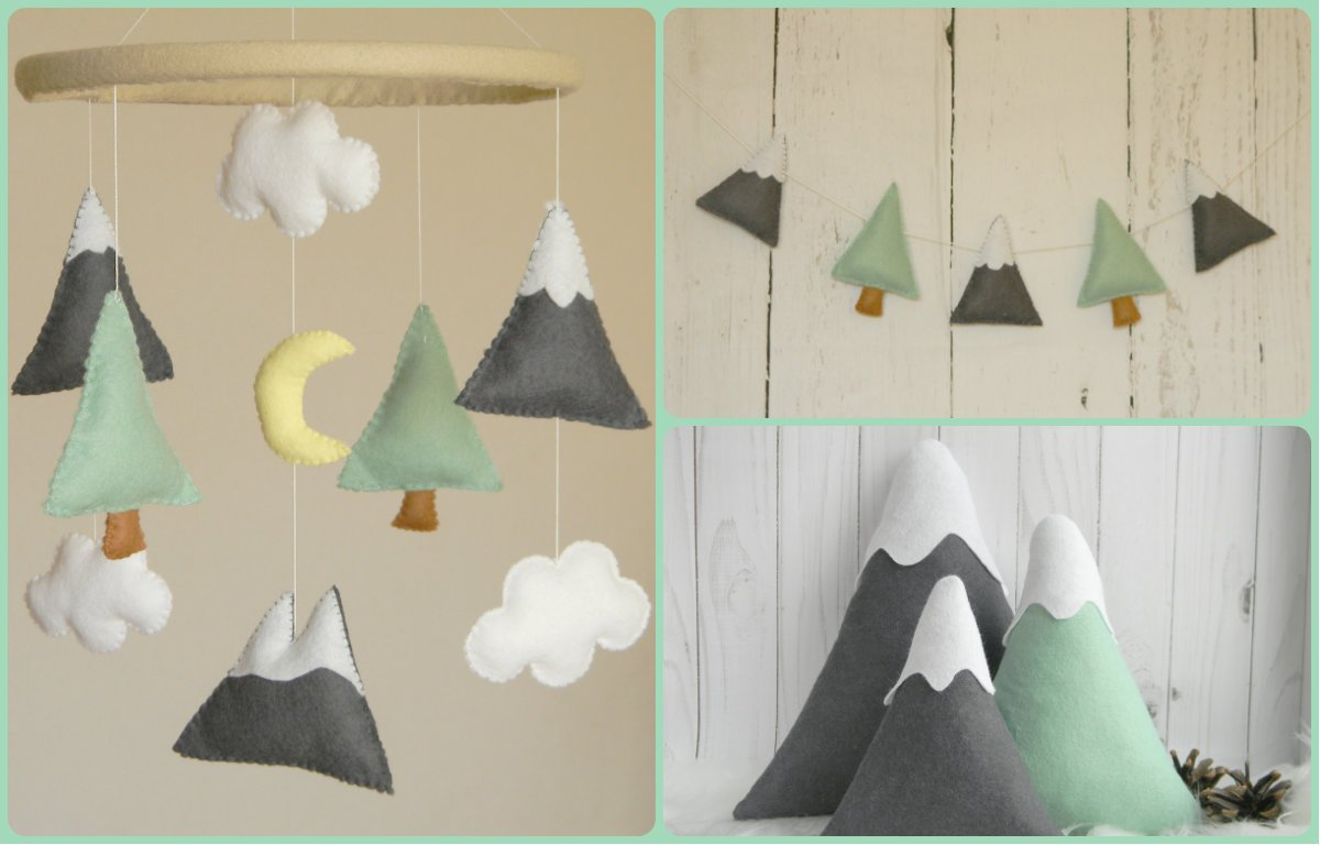 BIG SET - Mountains Baby Mobile Felt Mountains and Tree garland, Mountain pillows Mountain nursery decor, Mint Gray nursery decor by RainbowSmileShop