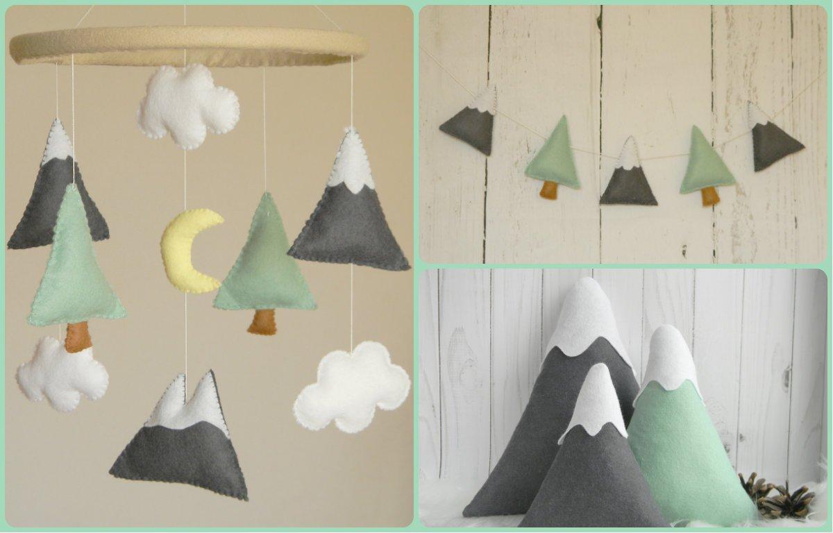 BIG SET - Mountains Baby Mobile Felt Mountains and Tree garland, Mountain pillows Mountain nursery decor, Mint Gray nursery decor