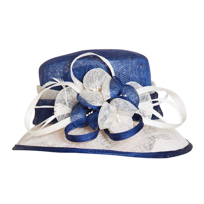Women Fascinators Wedding Hat Church Flower Wide Brim Linen Fedoras Kentucky Derby Hats Blue White