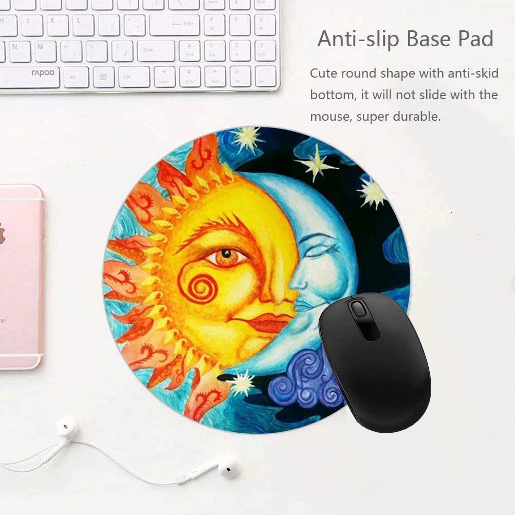 Mouse Pad Sun and Moon Drawring Custom Non Slip Rubber Mousepad Gaming Mouse Pad Cute Desk Decor Round Mouse Pads for for Desktops Computer PC and Laptops