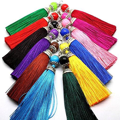 (Pamir Tong 12pcs Ice Silk Tassel with Acrylic Beads & Lobster Top Earring/Bag/Keychain Tassel GD12ST140)
