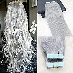 """HairDancing 20"""" 20 Pcs 50Gram Per Package Seamless Skin Weft Tape In Hair Extensions Silver Gery Color 100% Straight Unprocessed Remy Virgin Human Hair"""